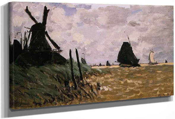 Windmill Near Zaandam By Claude Oscar Monet