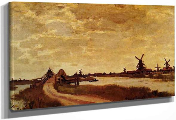 Windmills At Haaldersbroek, Zaandam By Claude Oscar Monet