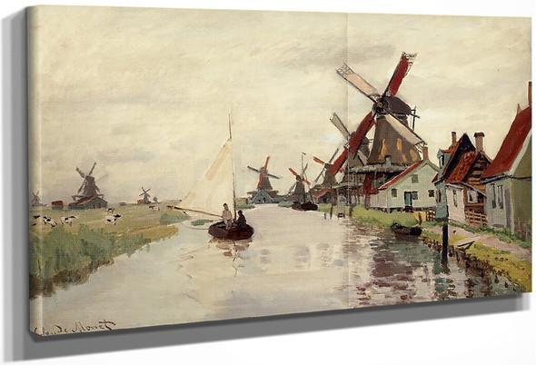 Windmills In Holland By Claude Oscar Monet