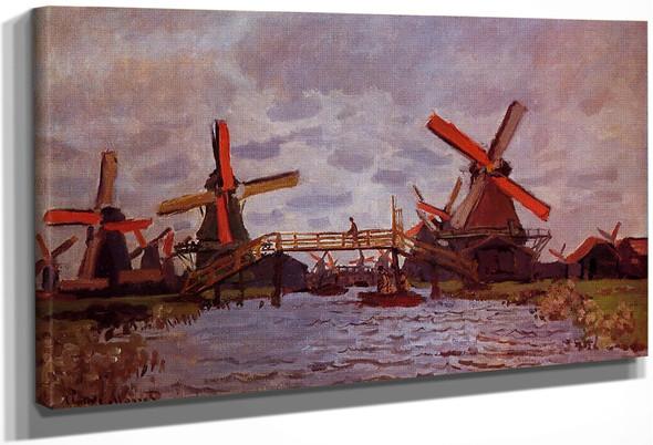 Windmills Near Zaandam By Claude Oscar Monet