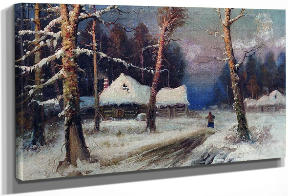Winter Evening In The Village By Julius Klever