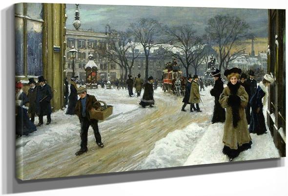 Winter In Kongens Nytorv, Copenhagen By Paul Gustave Fischer By Paul Gustave Fischer