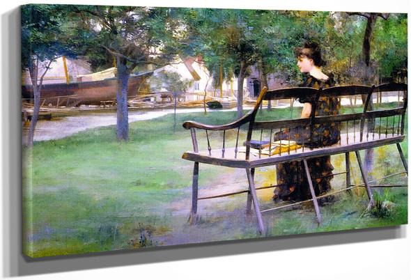 Woman On A Park Bench By Edwin Austin Abbey