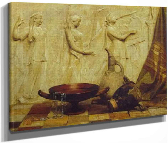 A Skyphos, A Kylix, A Wine Jug, And An Egyptian Necklace Before A Greek Frieze, On Marble Tiles By Arthur Hacker  By Arthur Hacker