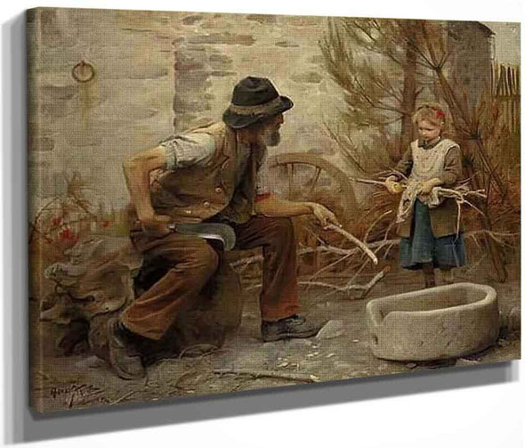 A Woodcutter And His Daughter By Arthur Hacker  By Arthur Hacker