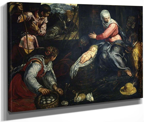 Adoration Of The Shepherds By Jacopo Tintoretto