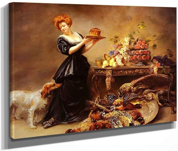 Allegorie De L'automne La Duchesse De Gramont Presente Un Etalage De Fruits Et De Giber By Madeleine Jeanne Lemaire