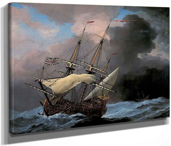 An English Ship 'Hampton Court' In A Gale By Willem Van De Velde The Younger