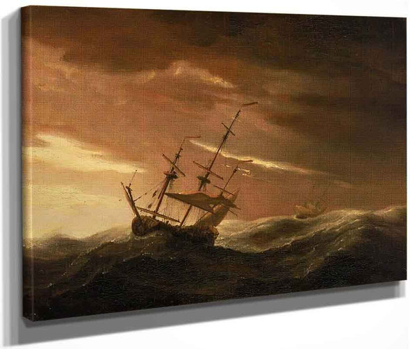 An English Ship At Sea Lying To In A Gale By Willem Van De Velde The Younger