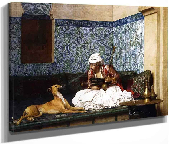 Arnaut Blowing Smoke In His Dog's Nose By Jean Leon Gerome  By Jean Leon Gerome
