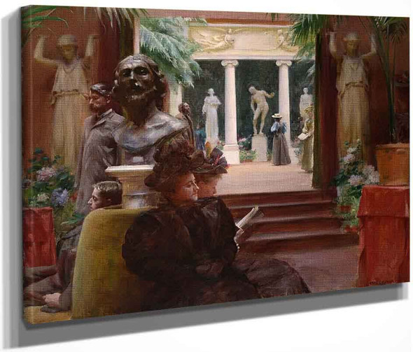 At The Sculpture Exhibition By Charles Courtney Curran By Charles Courtney Curran