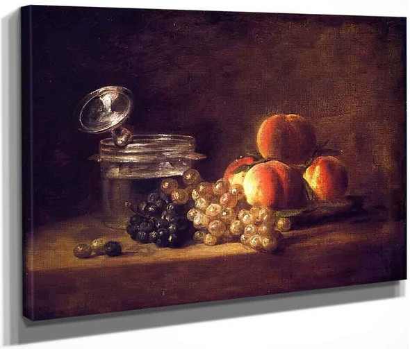 Basket Of Peaches And Red And White Grapes With Wine Cooler And Stemmed Glass By Jean Baptiste Simeon Chardin