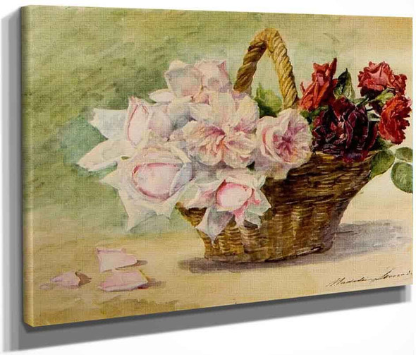 Basket With Roses By Madeleine Jeanne Lemaire