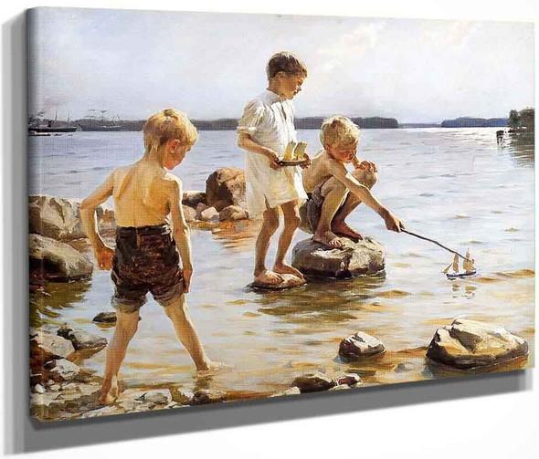 Boys Playing At The Beach By Albert Edelfelt
