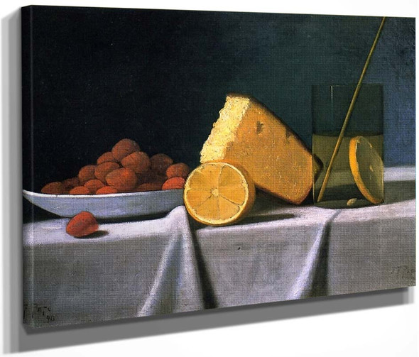 Cake, Lemon, Strawberries And Glass By John Frederick Peto By John Frederick Peto