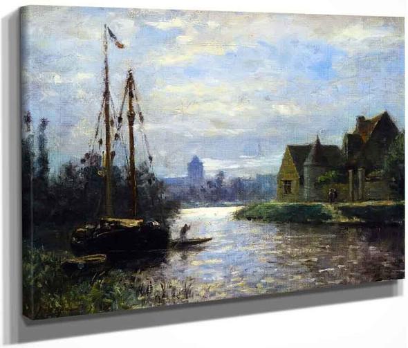 Canal In Moonlight By Stanislas Lepine