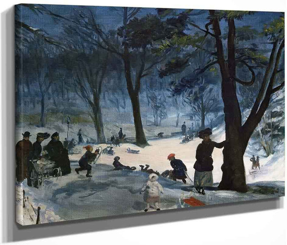 Central Park In Winter By William James Glackens  By William James Glackens