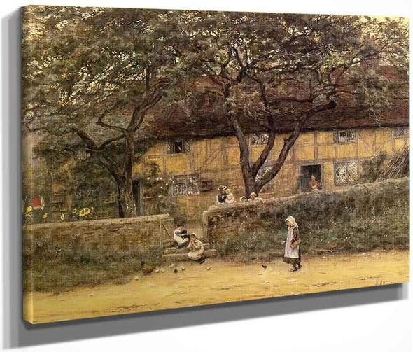 Children Outside A Cottage By Helen Allingham By Helen Allingham