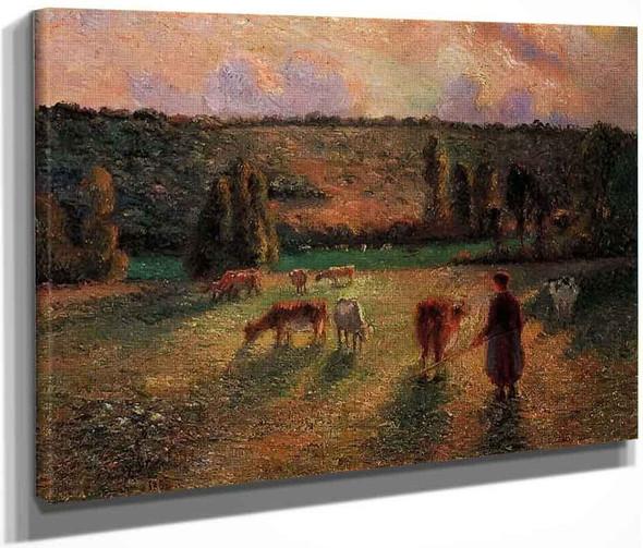 Cowherd At Eragny By Camille Pissarro By Camille Pissarro