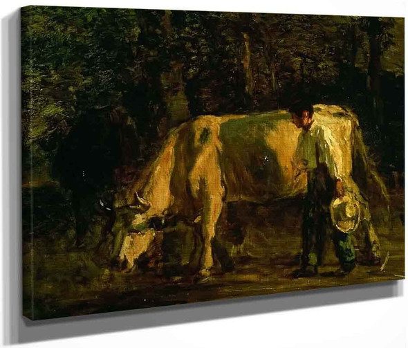 Cows And Cowherd By Constant Troyon