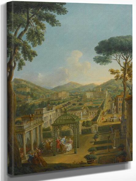 An Extensive Landscape With Villas And Figures By Giovanni Paolo Panini By Giovanni Paolo Panini