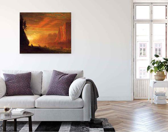 Deer At Sunset By Albert Bierstadt By Albert Bierstadt