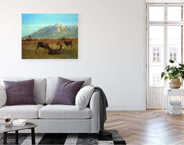 Deer In A Mountain Home By Albert Bierstadt By Albert Bierstadt