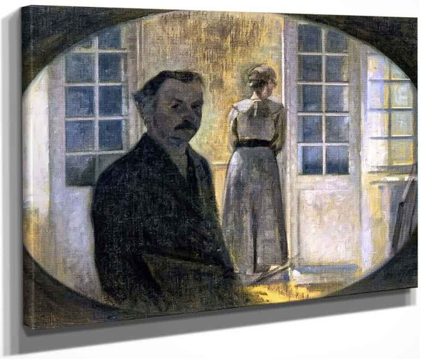 Double Portrait Of The Artist And His Wife, Seen Through A Mirror, The Cottage Spurveskjul By Vilhelm Hammershoi  By Vilhelm Hammershoi