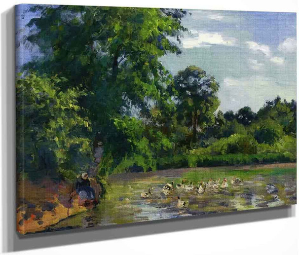 Ducks On The Pond At Montfoucault By Camille Pissarro By Camille Pissarro