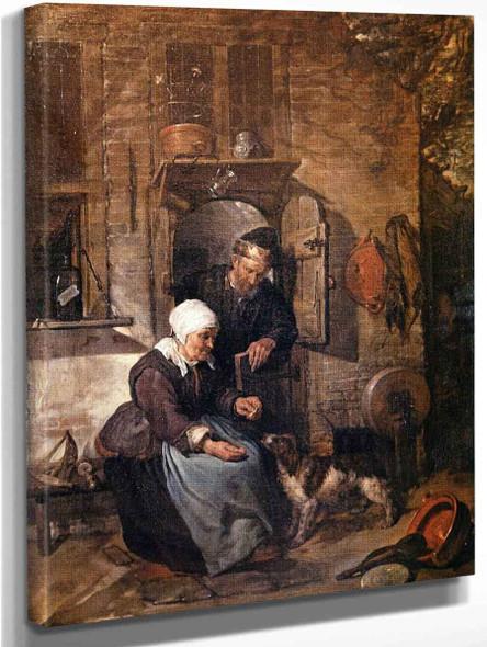 An Old Couple Feeding A Dog By Gabriel Metsu