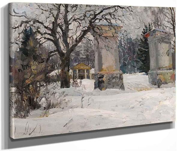 Entrance To An Estate In Winter By Sergei Arsenevich Vinogradov Russian 1869 1938