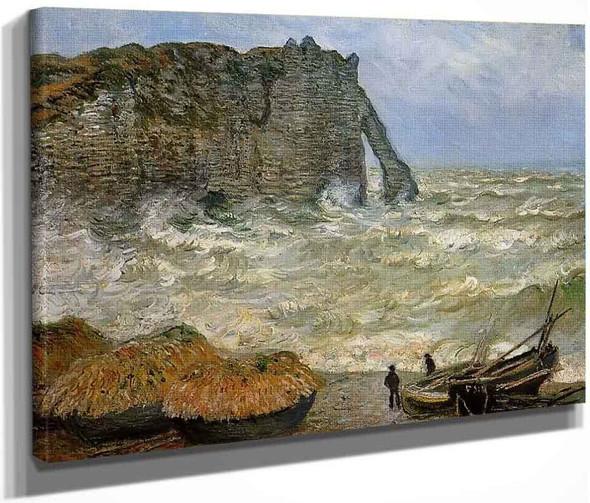 Etretat, Rough Sea By Claude Oscar Monet
