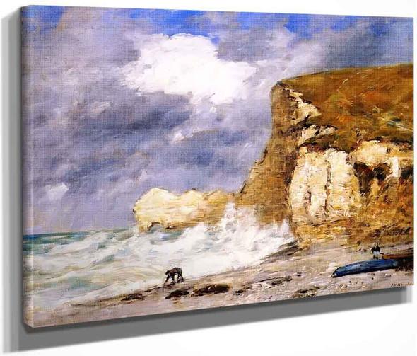 Etretatthe Amont Cliff In November By Eugene Louis Boudin By Eugene Louis Boudin