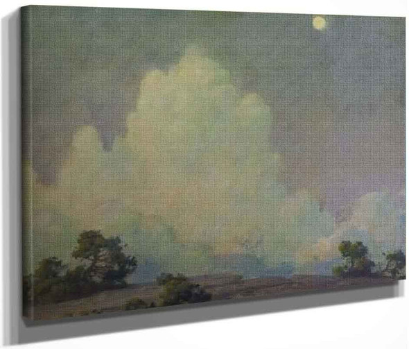 Evening Cloud And Rising Moon By Charles Courtney Curran By Charles Courtney Curran