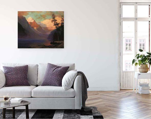 Evening Glow, Lake Louise By Albert Bierstadt By Albert Bierstadt