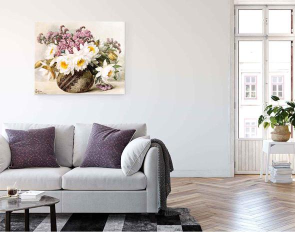 Floral With Indian Basket By Raoul De Longpre By Raoul De Longpre