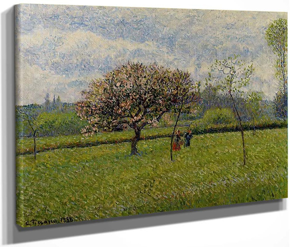 Flowering Apple Trees At Eragny By Camille Pissarro By Camille Pissarro