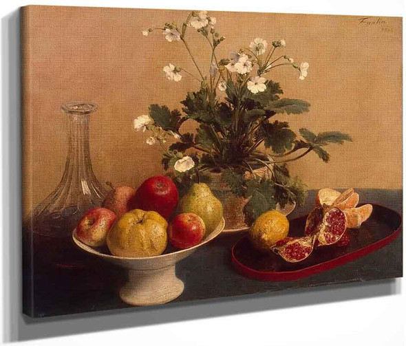 Flowers, Dish With Fruit And Carafe By Henri Fantin Latour By Henri Fantin Latour