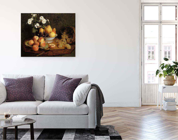 Flowers And Fruit On A Table By Henri Fantin Latour By Henri Fantin Latour
