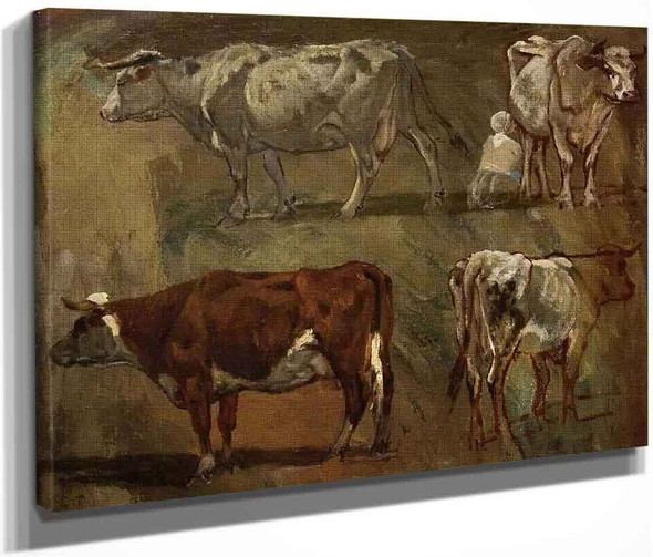 Four Sketches Of Cows By Constant Troyon