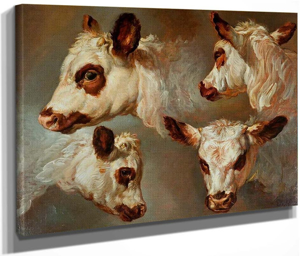 Four Studies Of Heads Of Cattle By George Morland