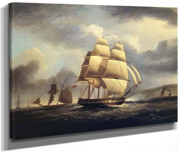 Frigate On The Thames By James E. Buttersworth By James E. Buttersworth