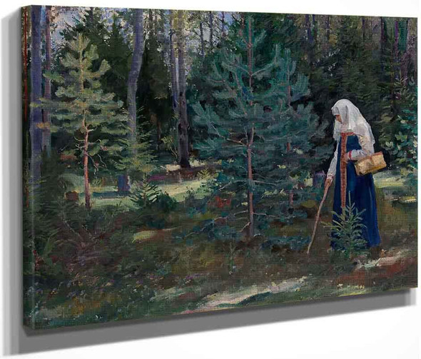 Gathering Mushrooms In The Forest By Sergei Arsenevich Vinogradov Russian 1869 1938