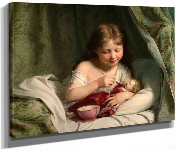 Girl Feeding Her Doll By Fritz Zuber Buhler