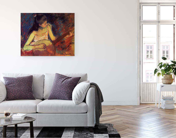 Girl With A Banjo By Mary Cassatt By Mary Cassatt