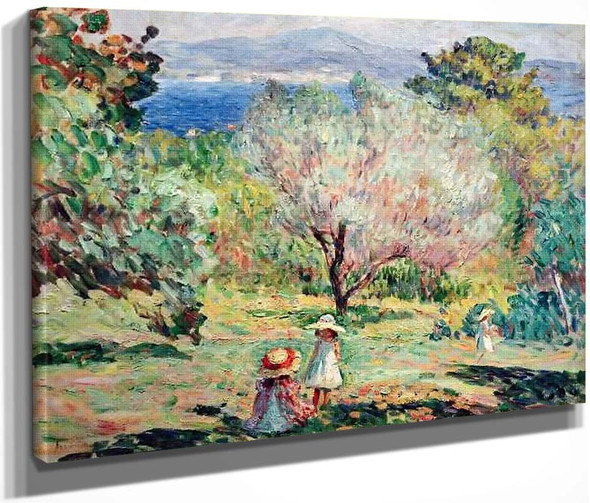Girls In A Mediterranean Landscape By Henri Lebasque By Henri Lebasque