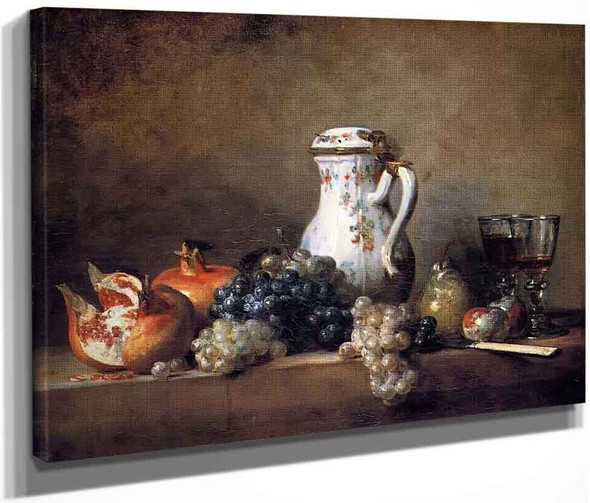 Grapes And Pomegranates By Jean Baptiste Simeon Chardin By Jean Baptiste Simeon Chardin