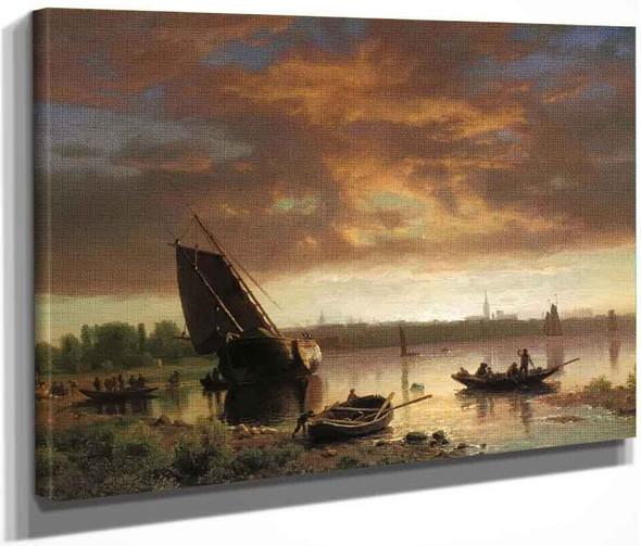 Harbor Scene By Albert Bierstadt By Albert Bierstadt
