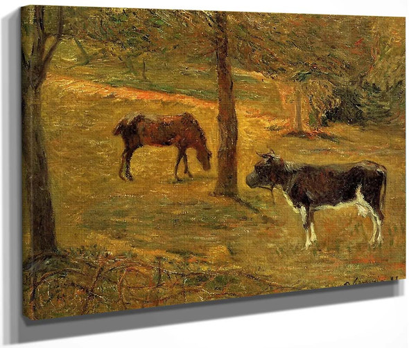Horse And Cow In A Field By Paul Gauguin  By Paul Gauguin