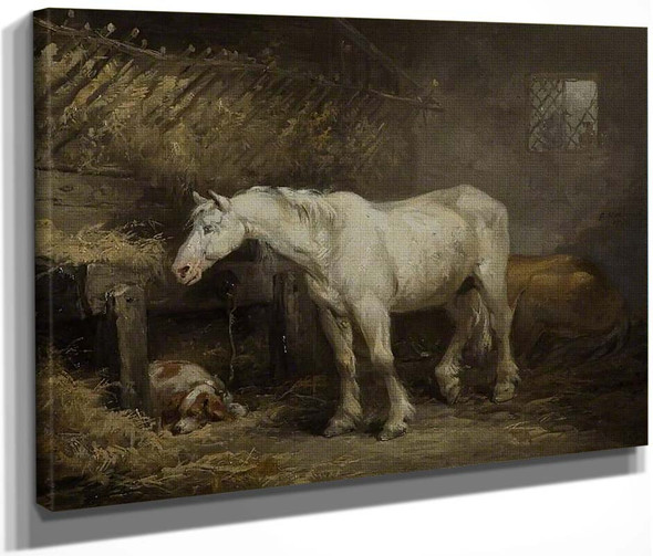 Horse And Dog In A Stable By George Morland